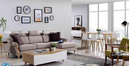Bộ ghế sofa góc bằng khung gỗ sồi tạo cho không gian phòng khách trở nên rộng rãi, thoáng đãng và sáng