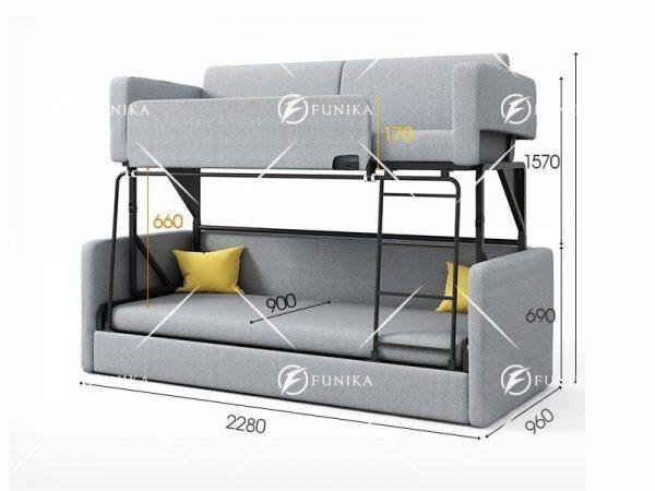 Kích thước giường sofa 2 tầng 9026
