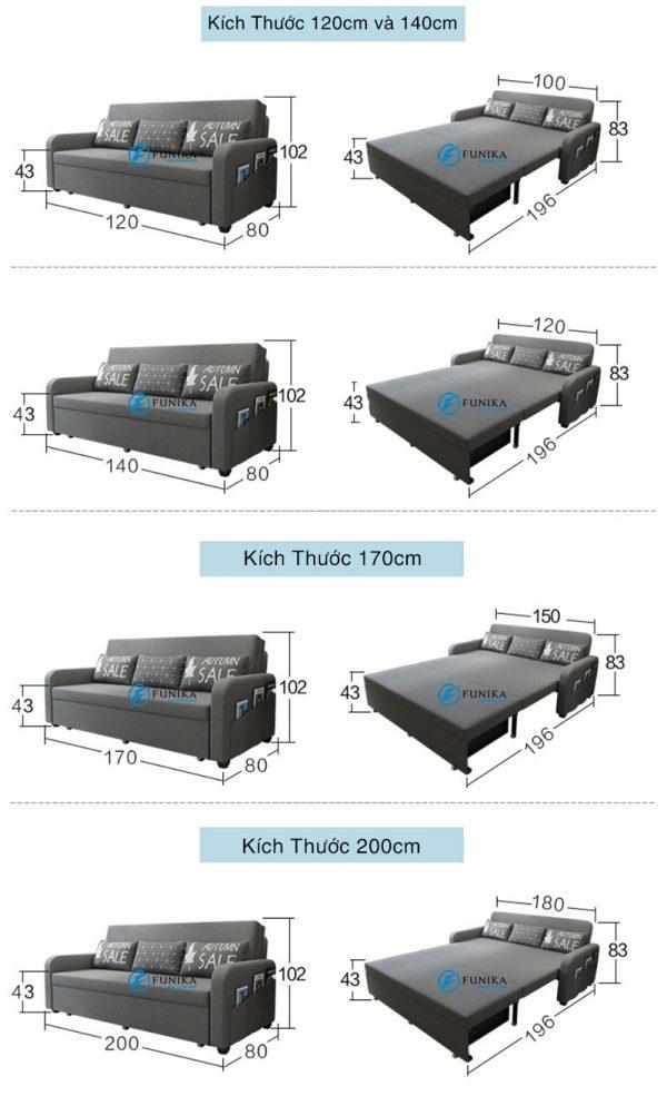 Kích thước sofa giường có hộc đồ F899
