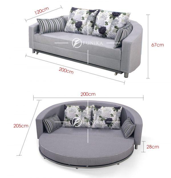Kích thước sofa giường tròn BK-6021